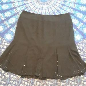 Size 16 100% Silk black bead lined skirt
